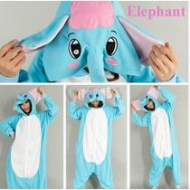 Pijama Adulto Macacão Animal Elefante Com Capuz