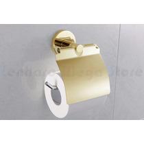Suporte Papel Higienico Papeleira Metal Dourado Acab Redondo