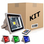 Kit 10 Refletores Holofotes Led Rgb 10w Controle 16 Cores