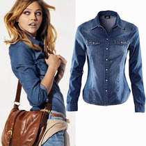 Camisa Social Feminina Jeans 2 Cores Pronta Entrega