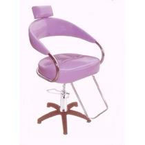Cadeira Futurama Hidráulica Para Cabeleireiro Lilás Gliter
