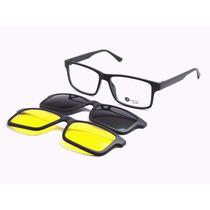 Armação Óculos 3 Em 1 Clip On Sol Noite Preto - Frete Grátis