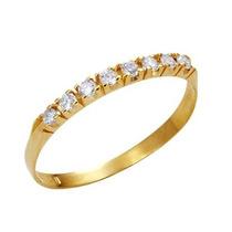 Leão Jóias Meia Aliança Em Ouro 18k 8 Diamantes 3pts