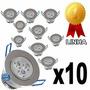 Kit 10 Spot Led 3w Lampada Dicroica Direcionável Sanca Gesso