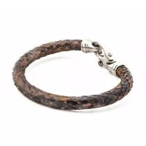 Bracelete Em Couro De Cobra Python