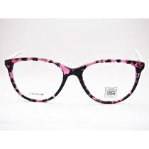Armação Para Óculos Lougge Acetato Redonda Rosa Rajado