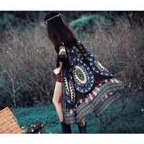Kimono Colete Boho Longo Estampa Boho Gipsy