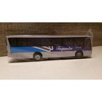 Miniatura De Ônibus Viação Fagundes Em Madeira S/ Retrovisor
