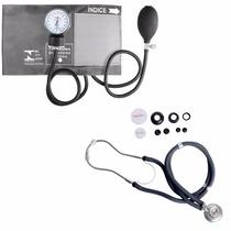 Kit Esfigmomanômetro + Estetoscopio Rappaport Cinza Premium