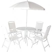 Jogo 4 Cadeiras Guarda Sol Mesa Piscina Praia Branco Bel 851