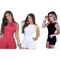Macacão Macaquinho Curto Feminino Verão Instagram Com Bolso