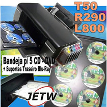 Kit Bandeja 5 Cd Dvd Blu-ray Epson T50 R290 L800 Impressora