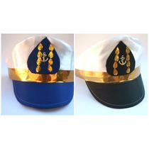 Kit Quepe Capitão Marinha Marinheiro Fantasia Festa Boina