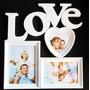 Quadro Painel Love Porta Retrato 26 X 32 Cm Mural 3 Fotos