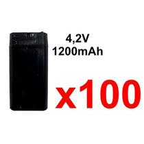 Kit X 100 Bateria 4,2v Recarregavel Led Luz Emergência Farol