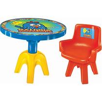 Cadeira E Mesa Infantil Galinha Pintadinha Com Porta Materia
