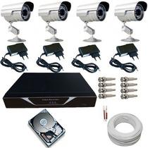 Sistema De Segurança 04 Câmeras Infravermelho Dvr H264 04 Ch