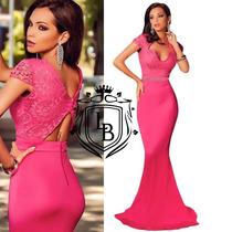Vestido Longo Rosa Pink Sereia Magenta Renda Pronta Entrega