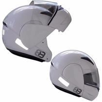 Capacete Moto Ebf E8 Articulado Robocop Branco 61/62