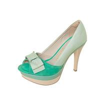 Sapato Peep Toe Dakota Laço Verde (37)