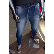 Calça Jeans Jogger Azul Masculina Slim Lycra Elastico