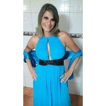 Vestido Longo De Festa Azul Tifanny