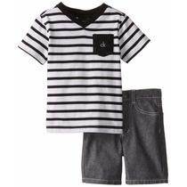 Conjunto Calvin Klein Camisa Listrada + Short 12 Meses