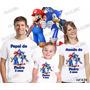 Camiseta Mario E Sonic Personalizada Aniversario Kit Com 3