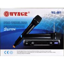 Kit Microfone Duplo Sem Fio Profissional Vhf Wg-005 Sem Fio