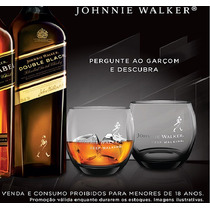 2 Copos Whisky Johnnie Walker Black Label Fumê Cx Original