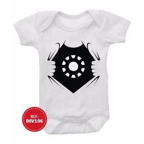 Body Bebê Homem De Ferro Iron Man Super Heróis Infantil Bori