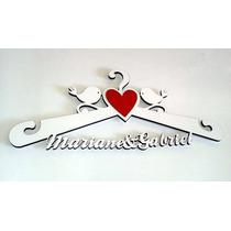 Cabide Personalizado Vestido Noiva Casamento Data Coração