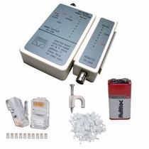 Testador De Cabo De Rede + 200 Conector Rj45 + 100 Fixa Fios