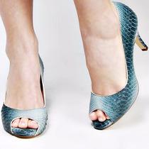 Sapato Peep Toe Biondini Azul Cobra Couro Legítimo Nº 37