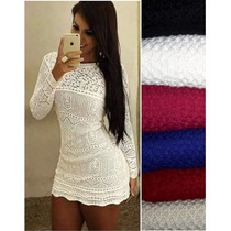 Vestido Feminino De Tricot Crochê Renda Curto Manga Longa