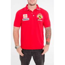 Camiseta Camisa Polo Bordada Ferrari Dupla Gola!