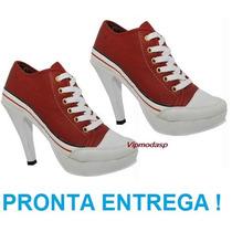 Tênis Sneaker Botinha Feminino Salto Preto Vermelho Até 39