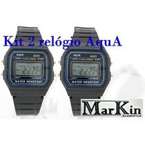 Relógio Aqua, Kit Com 2 Unidades, Resistente A Água.