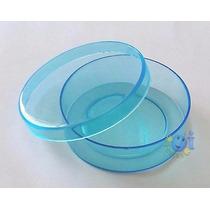Lembrancinha Latinha Acrílica Transparente Azul Pct C/ 10