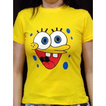 Camiseta Feminina Baby Look Bob Esponja - Camiseta Engraçada