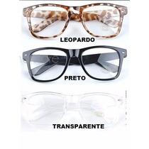 Armação Oculos De Grau Wayfarer Retrô E Lentes Transparentes