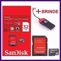 Cartão De Memória Micro Sd Sandisk 32gb +leitor+promoçao