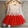 Vestido De Festa Infantil Criança Menina Vermelho Renda