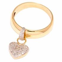 Anel Em Ouro Amarelo 18k Coração Com Diamantes