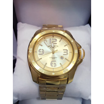 Relógio Masculino Original Atlantis Dourado Com Calendário