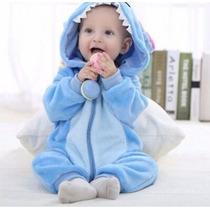 Pijama Fantasia Macacão Bebê Plush Stich Azul Desenho Capuz
