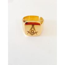 Anel Maçonaria Folheado A Ouro 18 K - Maçom
