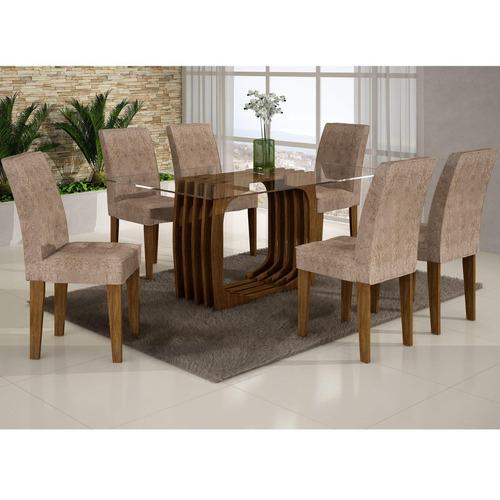 Conjunto Sala De Jantar Mesa Monalisa 1,80m E 6 Cadeiras