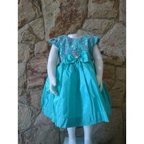 Vestido Infantil Festa Casamento Luxo Tafetá Verde Renda