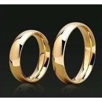 Par Alianças Tradicional Noivado Ou Casamento Banhado Ouro